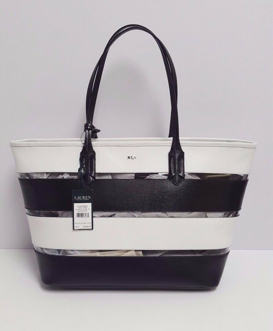 e0e42853aa Ralph Lauren Tate Stripe Classic Leather Tote (black white)