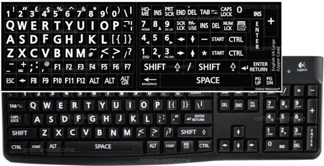 ENGLISH UK KEYBOARD STICKER LARGE LETTERS BLACK FOR COMPUTER LAPTOP