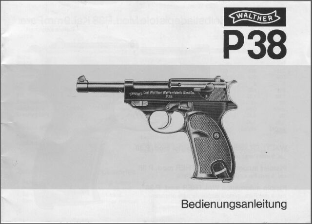walther p38 pistol instruction manual on a cd ebay rh ebay com walther p38 owners manual walther p38 airsoft manual