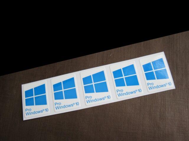 5 pcs windows 10 pro blue sticker badge logo decal cyan. Black Bedroom Furniture Sets. Home Design Ideas