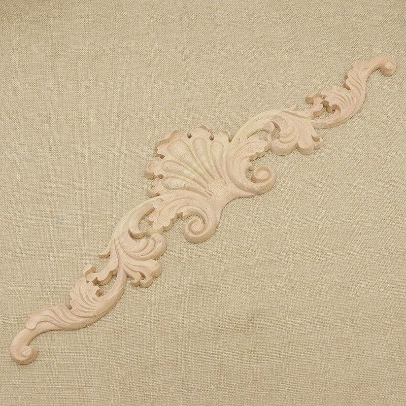 Flower Design Carpenter Oak Wood Carved Corner Onlay Applique