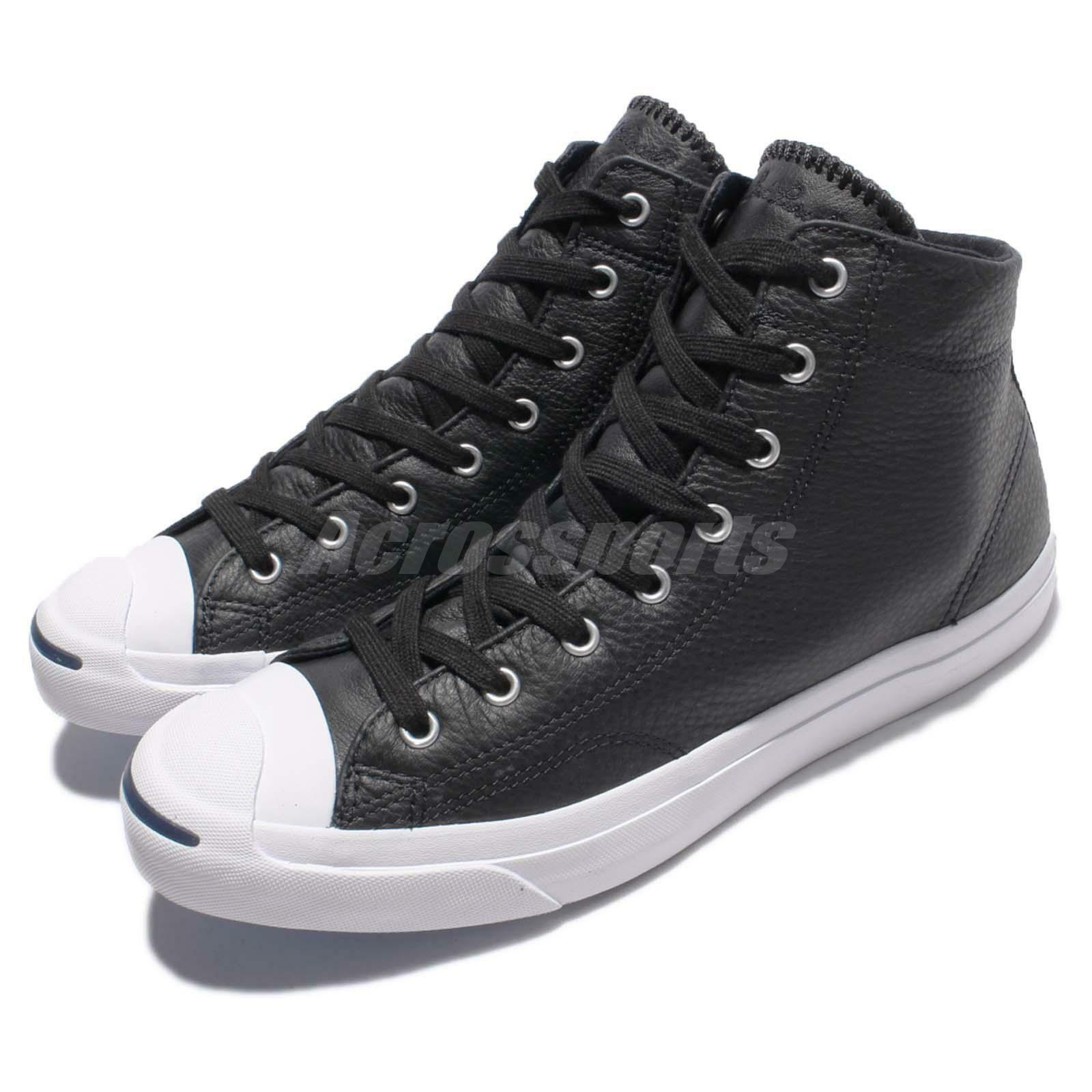 Converse Jack Purcell Jack Mid Black White Leather Men Casual Shoes 155718C