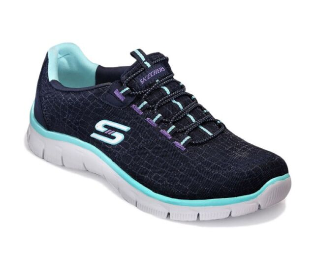 SKECHERS Empire 'ROCK AROUND' Metallic Mesh Sneaker -NAVY/AQUA Sz. 9