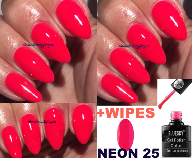 Bluesky Neon 25 N25 Red / Coral Pink Summer Nail GEL Polish UV LED ...