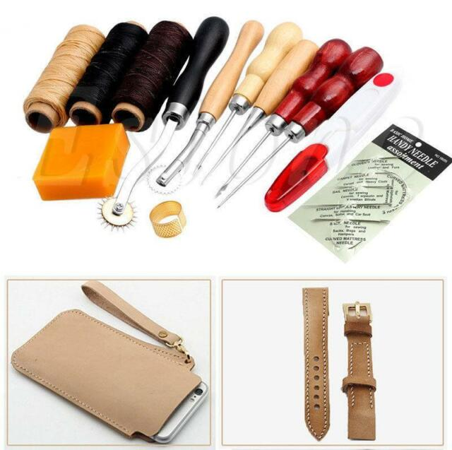 13Pcs Leather Craft Hand Stitching Sewing Tool Thread Awl Waxed Thimble Kit GA