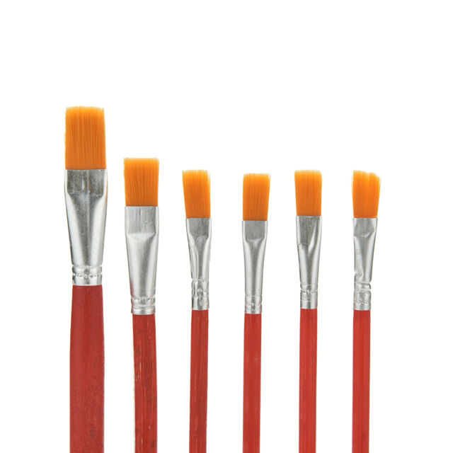 6x artist paint brush set nylon hair watercolor acrylic for Best paint brush brands