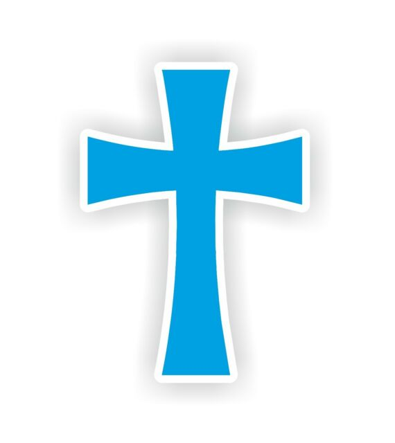 Christian Christ Cross Cyan Vinyl Sticker Bumper Decal Religious Car