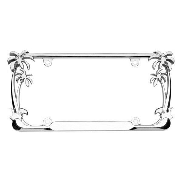 Chrome Daisy Flowers License Plate Frame Tag Holder Mount Bracket