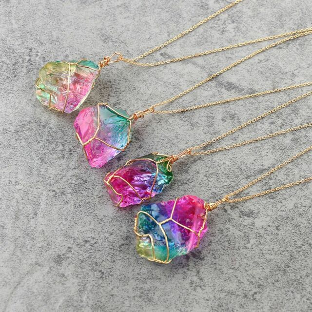 Rock quartz jewelry natural crystal irregular rainbow stone pendant rock quartz jewelry natural crystal irregular rainbow stone pendant necklace aloadofball Gallery
