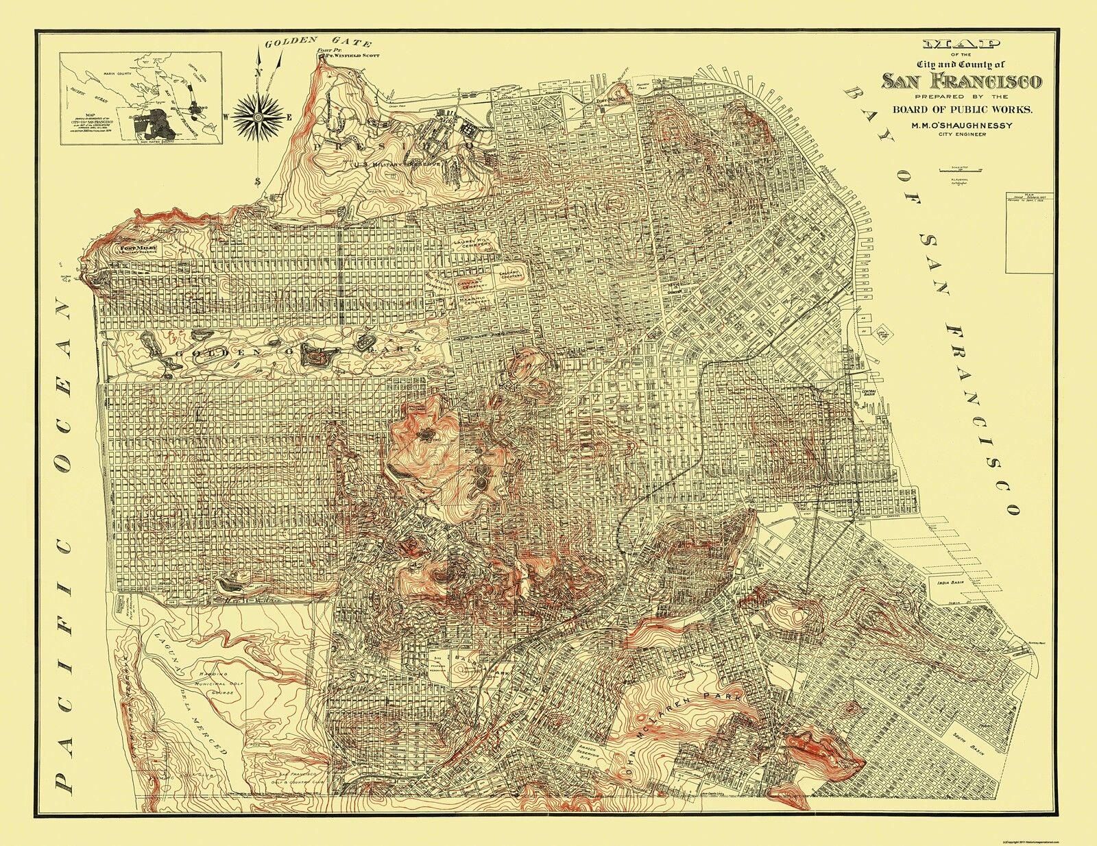 Topographic Maps - San Francisco California Map by The Board Pub ...