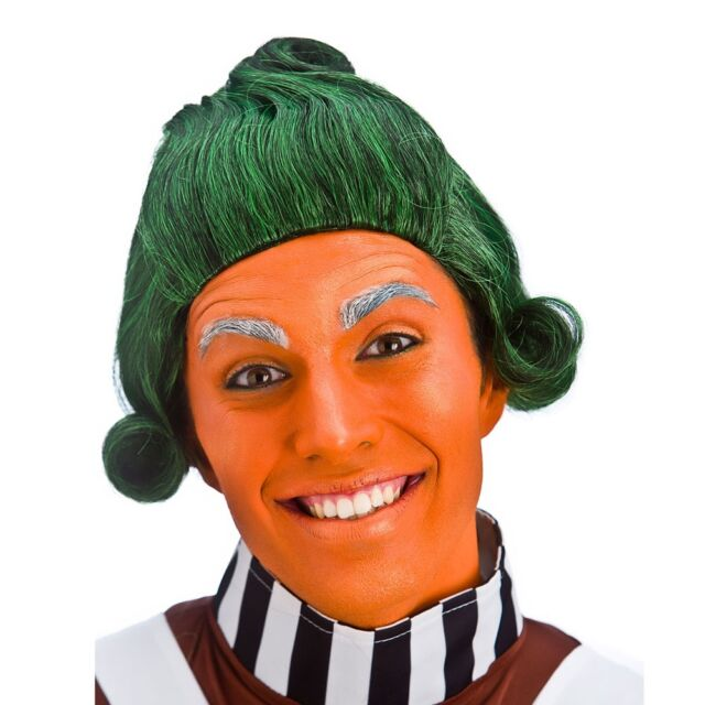 Adult Short Green Mens Wig Factory Worker Oompa Loompa Fancy Dress Costume