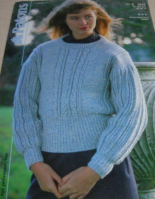 Original Vintage Patons Knitting Pattern Ladys Aran Sweater No