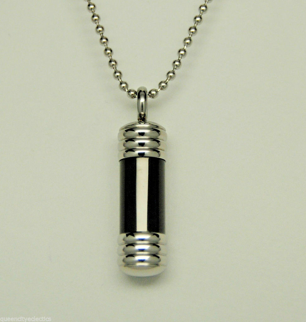 Mens Black Cylinder Urn Necklace Stainless Steel Cremation Jewelry