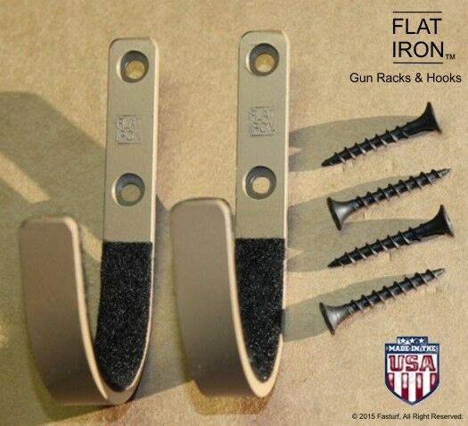Flatiron Tan Wall Mount Gun Rack Hooks Shotgun Bow