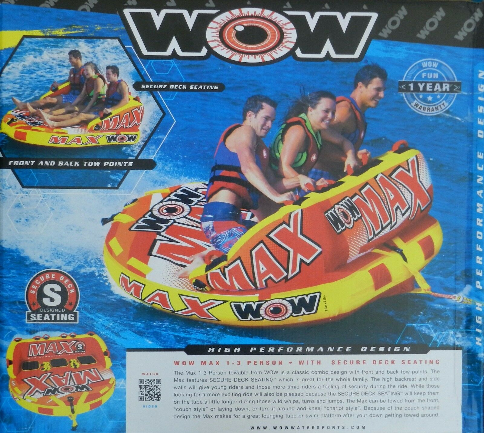 WOW Max 1 2 3 Person 2 Way Towable Water Raft Float Tow Tube