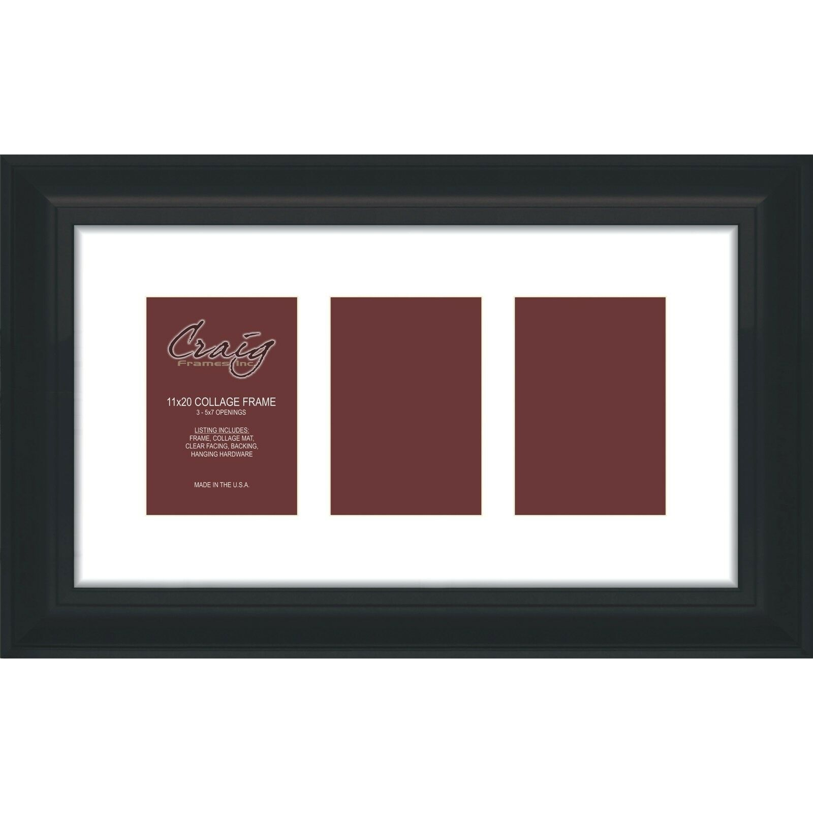 Craig Frames 11x20 Black Picture Frame With 3- 5x7 Openings White ...