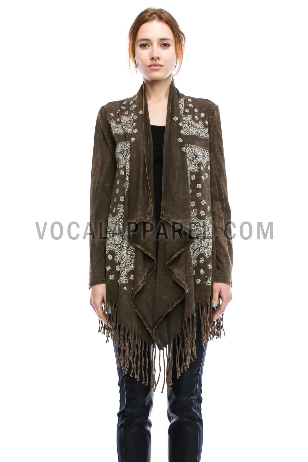 Vocal Mineral Wash Gold Studs Cross Fringe Duster Jacket Cardigan ...