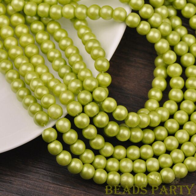 New 100pcs 4mm Round Glass Loose Spacer Beads Jewelry Findings Olive Green