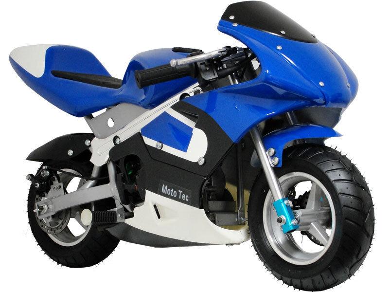 Super Cool Mototec Blue Gas Pocket Motorcycle Kids Scooter Dirt