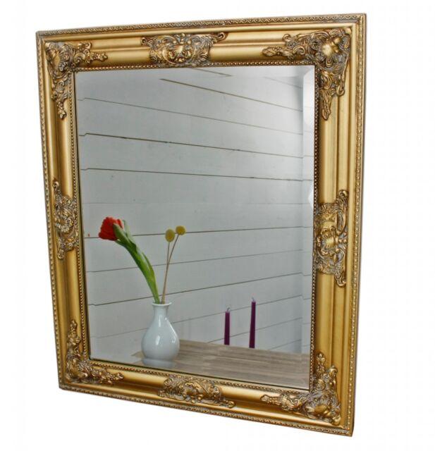 Mirror 62x52 Cm Baroque Wall Gold Wood Cottage Frame Bathroom