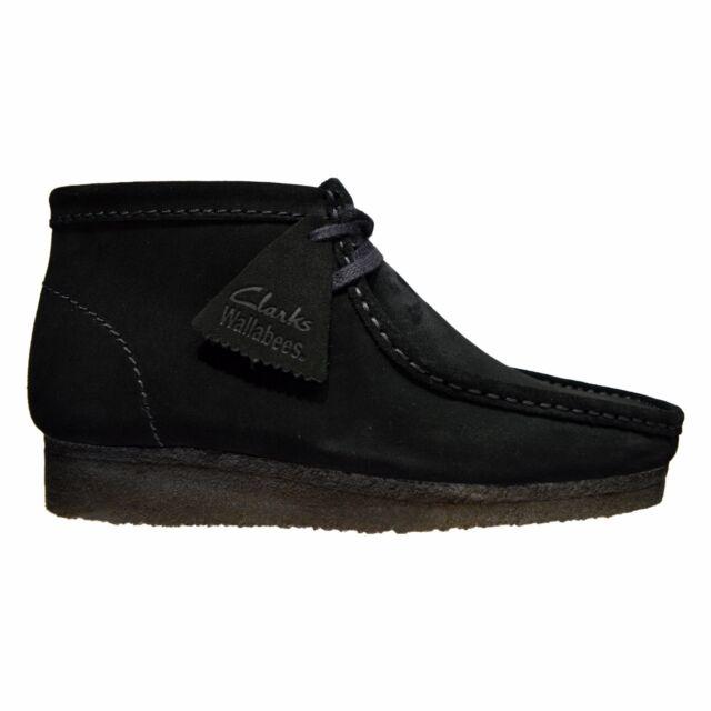 Clarks Originals Wallabee Boot Men's Suede Moc Toe Two-Eye Shoes Black  26103669