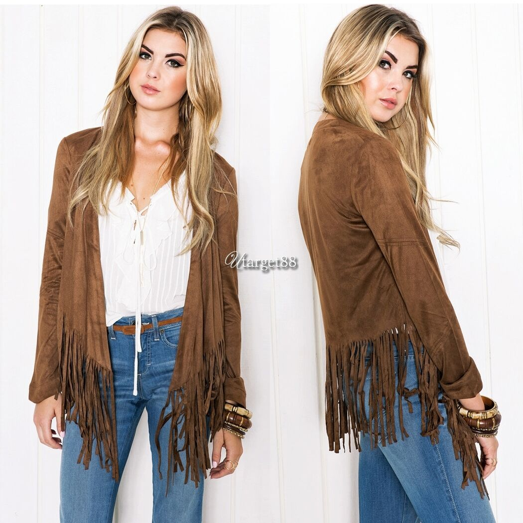 Women Long Sleeve Cardigan Sweater Outwear Jacket Tassels Coat ...