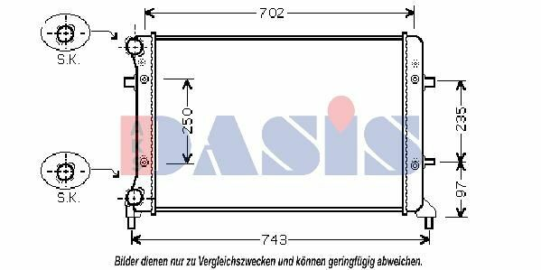 AKS DASIS Wasserkühler Kühler, Motorkühlung 040023N für AUDI - SEAT - SKODA - VW