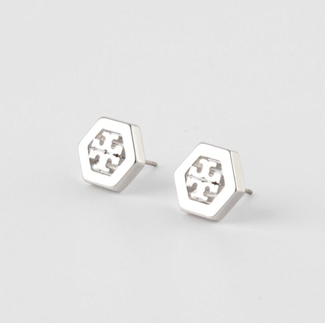 New Savings On Tory Burch Logo Stud Earrings Rose Gold Earring