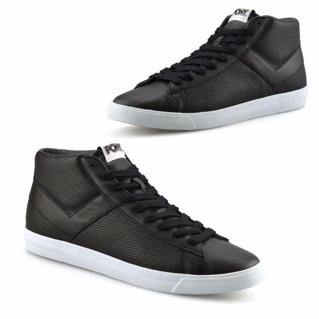 Boys Kids Pony TopStar Leather Hi Tops Skate Pumps Basketball Trainers Shoe Size