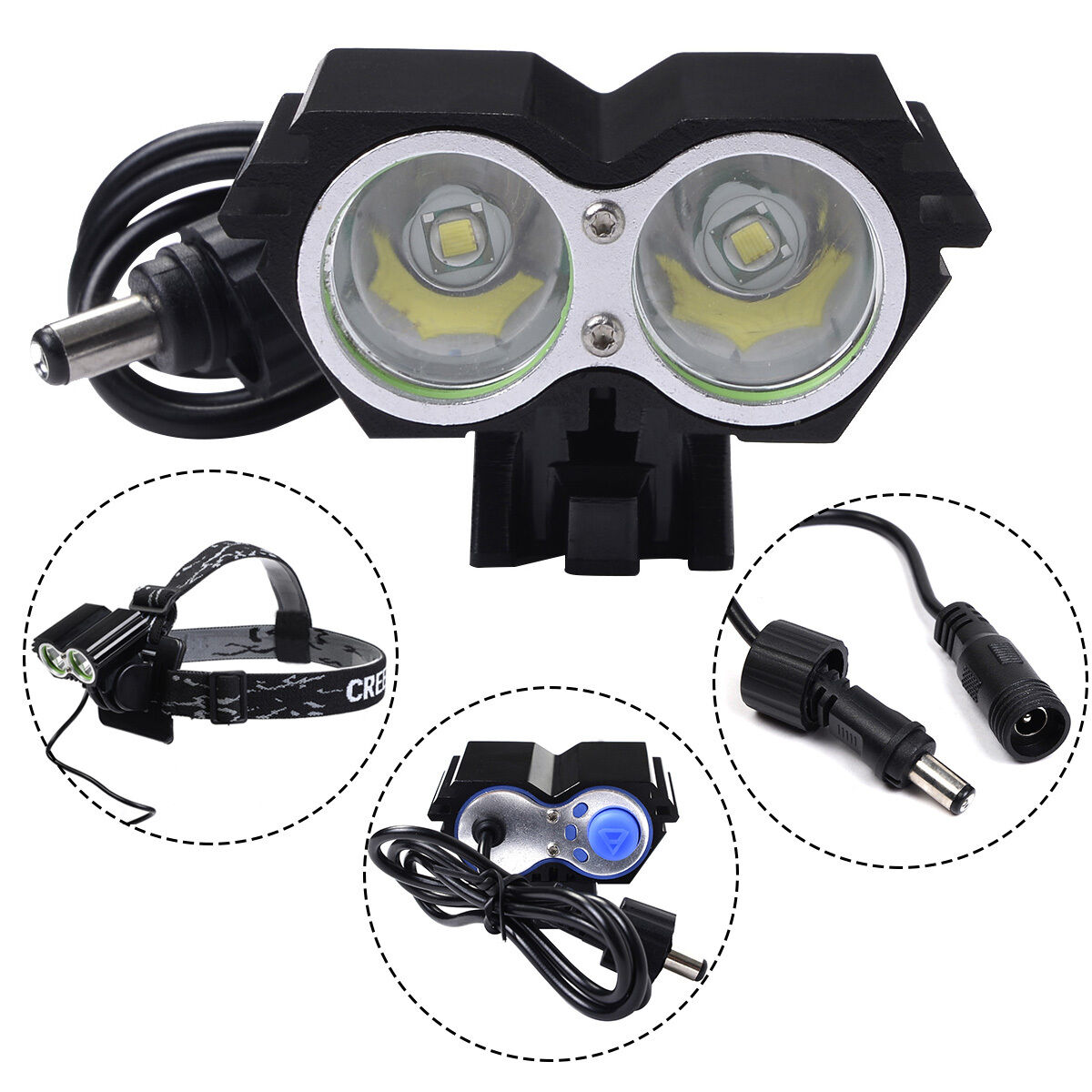 5000 Lumens 2 X Cree Xm L U2 Led Cycling Bike Bicycle Headlight T6 High Power Headlamp Black Picture 1 Of 4