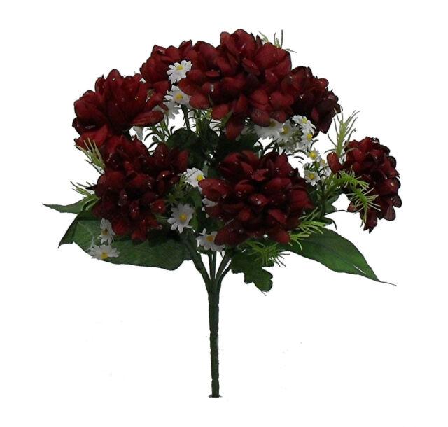 Mini Mums X 7 Bush Burgundy Silk Wedding Flowers Bouquets ...
