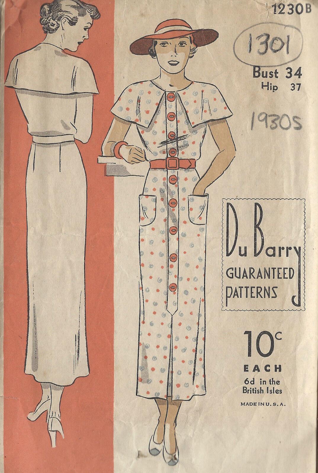1930s vintage sewing pattern b34 dress 1301 ebay picture 1 of 2 jeuxipadfo Choice Image