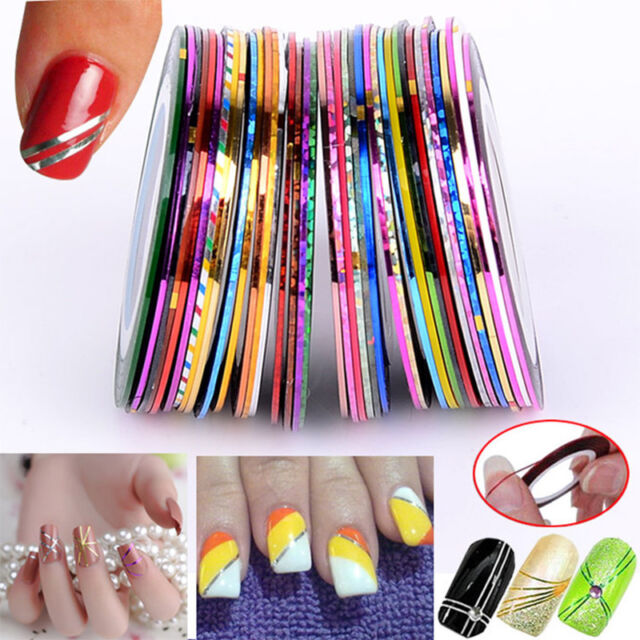 30x Mixed Colors Rolls Striping Tape Line DIY Nail Art Tips ...