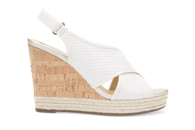 SANDAL FOR WOMAN GEOX IN PELLE LEATHER INTRECCIATA OFF WHITE CREMA SU ZEPPA