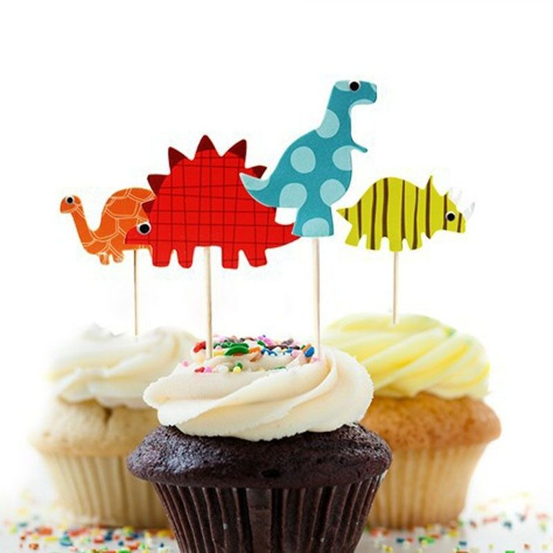 24pcs Dinosaur Cupcake Topper Picks Kids Birthday Wedding Party