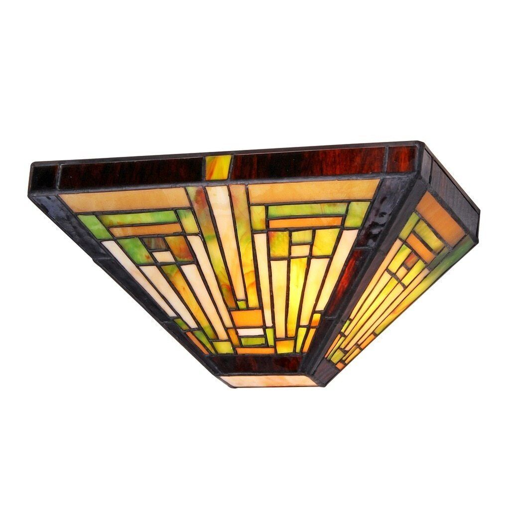 Tiffany style stained glass mission 1 light wall sconce 12 wide picture 1 of 2 amipublicfo Gallery