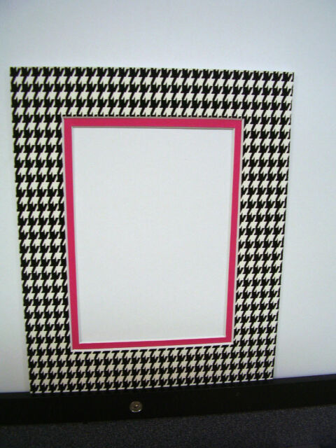 Picture Frame Double Mat 11x14 for 8x10 Photo Houndstooth Black ...