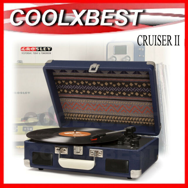 RFB CROSLEY CRUISER II BLUE DUAL POWER PORTABLE TURNTABLE 3 SPEED AC or BATTERY