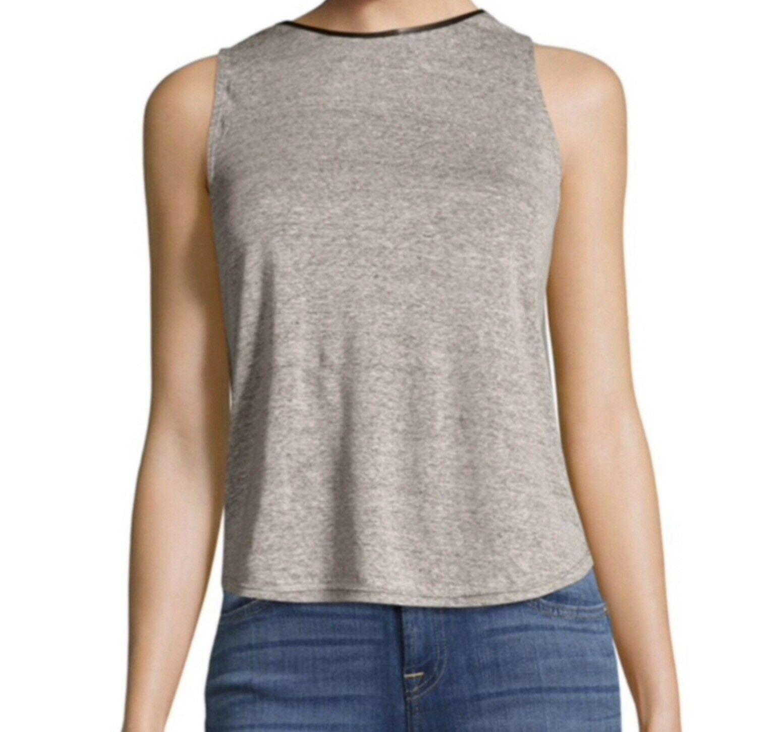 Discount Alice+olivia Woman Kassie Leather-trimmed Draped Linen-blend Top Gray Size L Alice & Olivia Cheap Big Discount EhEhDakPiD