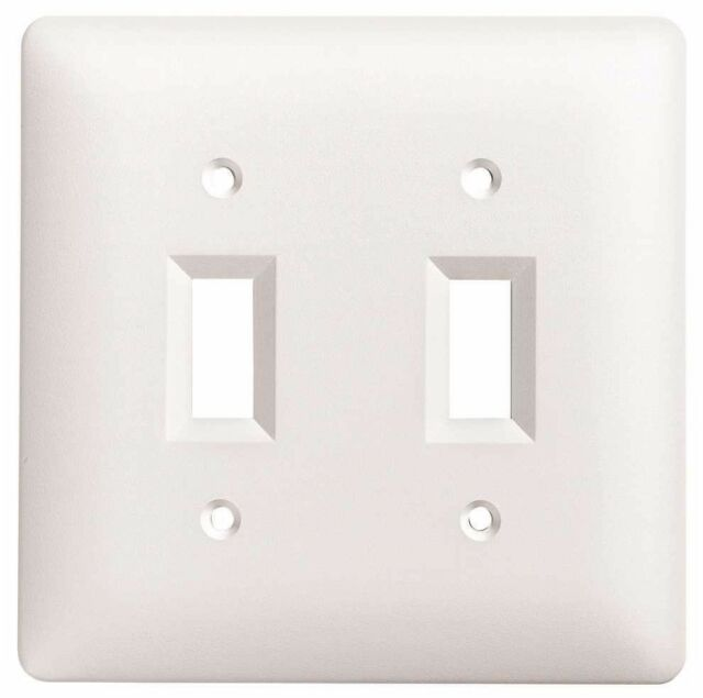 TayMac 4400 W Paintable Double Toggle Light Switch Wall Plate Cover White 2  Gan