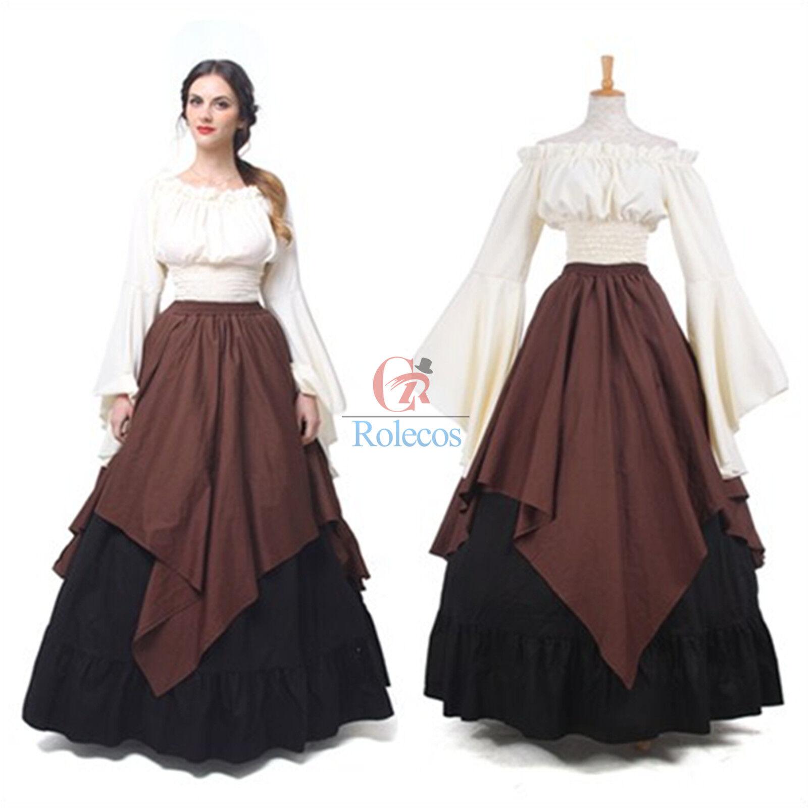 Vintage Medieval Renaissance Women Long Sleeve Queen Gown Wedding ...