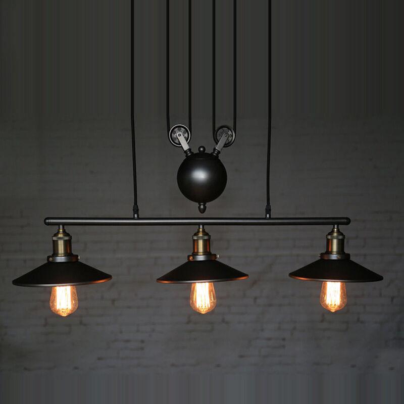 Vintage ceiling lights loft wheel lifting pulley chandeliers pendant 4 aloadofball Images