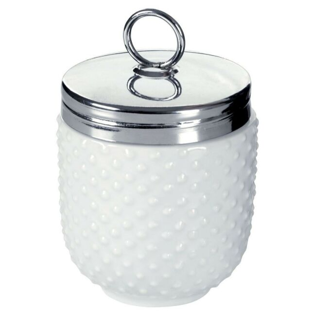 BIA Dotted Egg Coddler and Poacher With Stainless Steel Top - White Porcelain
