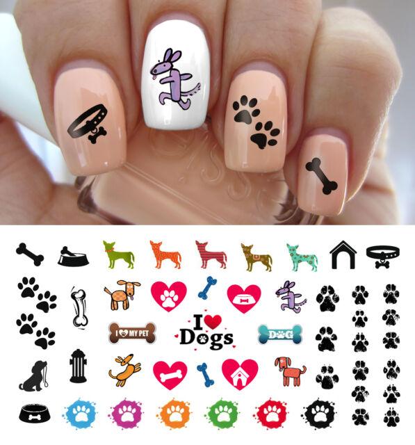 I Love My Dog Paw Prints Nail Art Waterslide Decals - Salon Quality ...