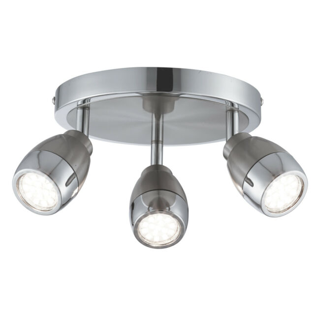 Searchlight 6073SS Chrome LED 3 Light Ceiling Spotlight With Satin Silver Trim