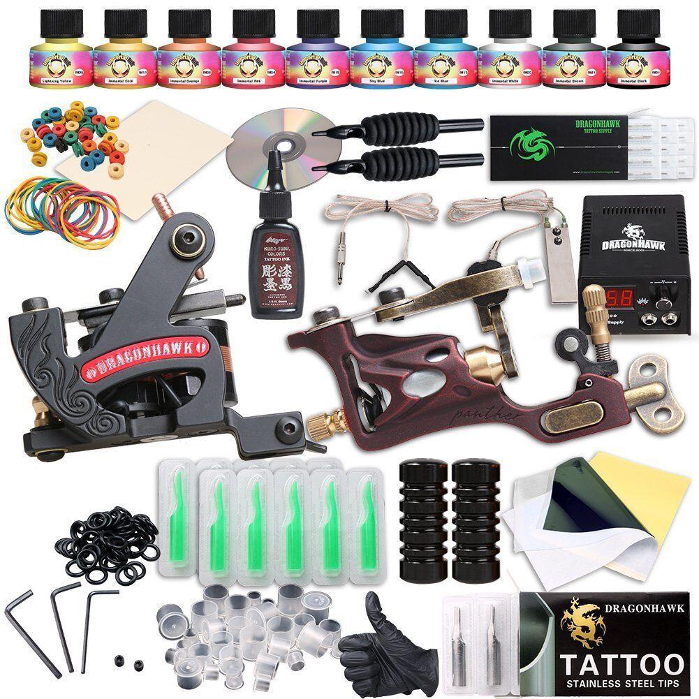 100 tattoo gun kit ebay dragonhawk complete tattoo for Tattoo kit ebay