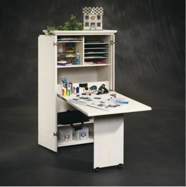 Craft Storage Furniture Supply Room Sewing Table White Antiqued Armoire  Cabinet   EBay