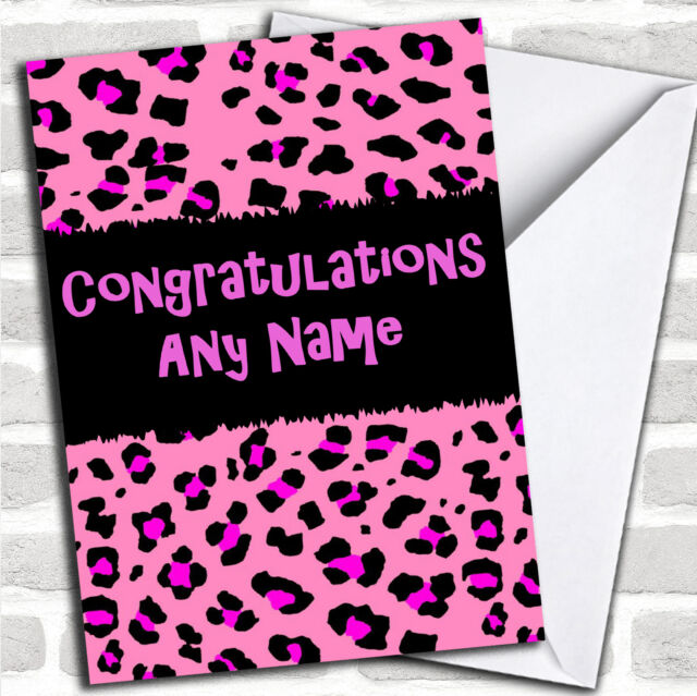 pink leopard print personalised congratulations card