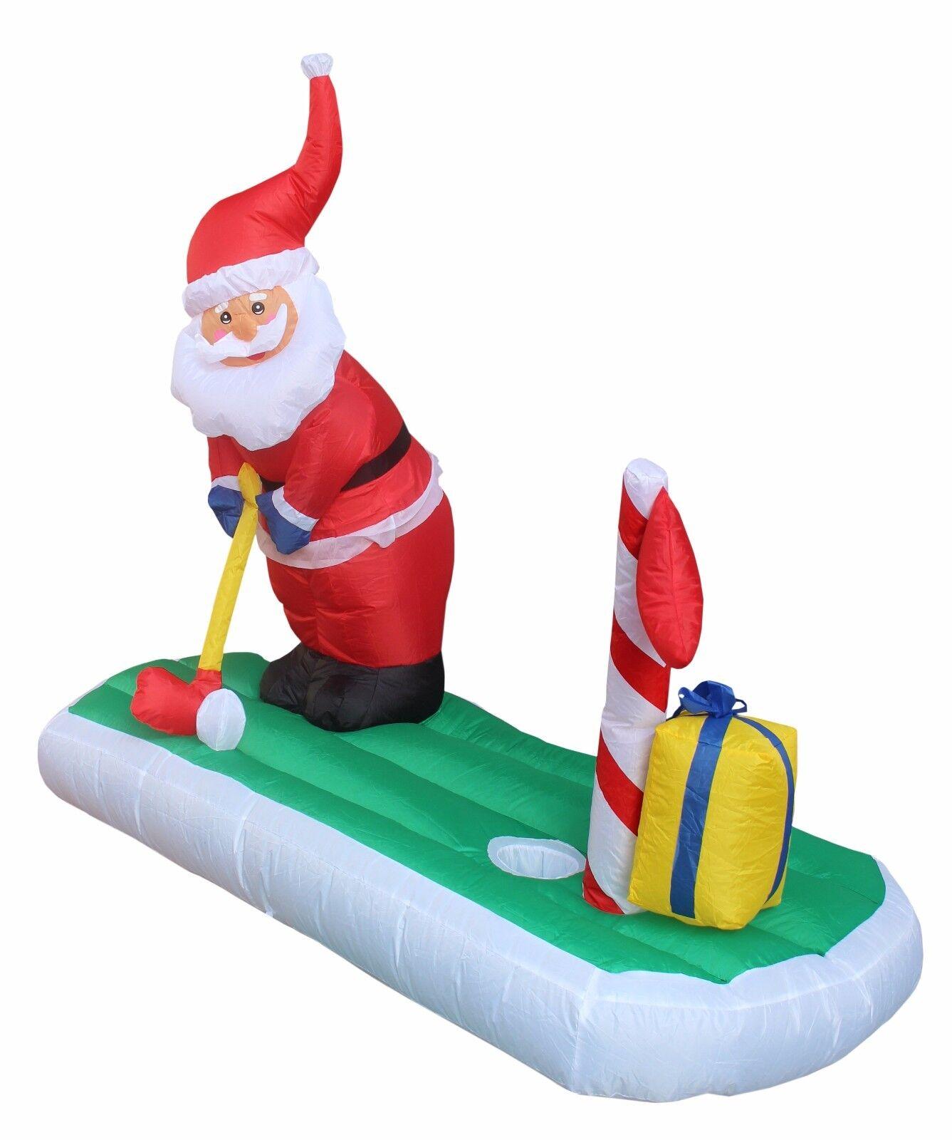 Christmas Inflatable Santa Claus Golf Yard Decoration Outdoor Garden ...