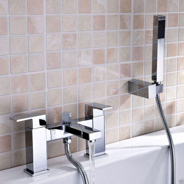 LIMA SQUARE SOLID BRASS CHROME BASIN MONO BATH SHOWER MIXER TAP SET